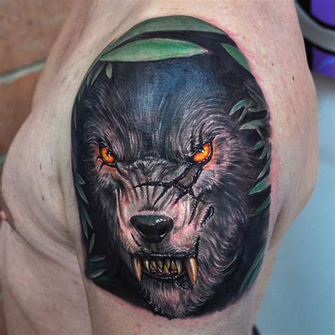 nate beavers tattoo color wolf portrait by nate beavers tattoos