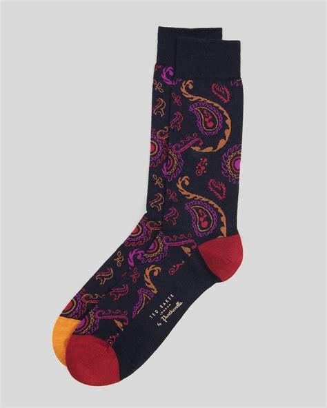 paisley pattern socks ted baker pazsock paisley socks in multicolor for men