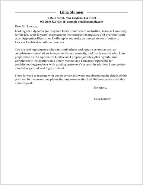 cover letter for electrical apprenticeship application