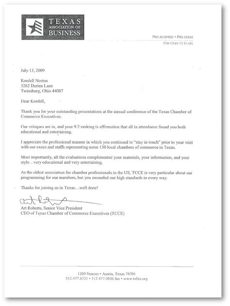 Reference Letter Sle Marketing Assistant Reference Letter For Kordell Norton From The Chamber Of Commerce Executives