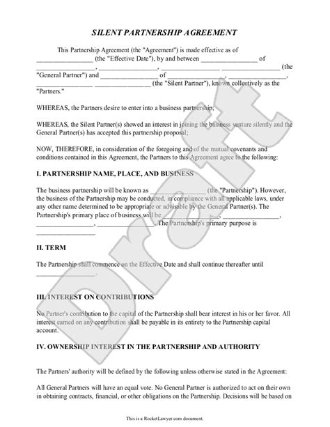 free silent partner agreement template 28 common law