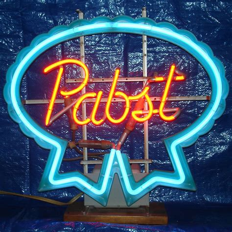neon light beer signs vintage pabst brewery company blue ribbon neon beer sign