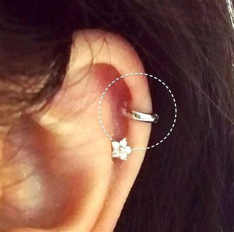 simple cartilage hoop earring silver gold black 5mm