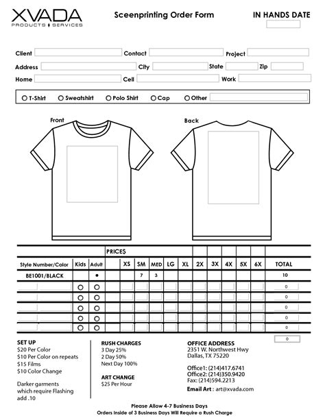 printable tshirt order form template t shirt order form template e commercewordpress