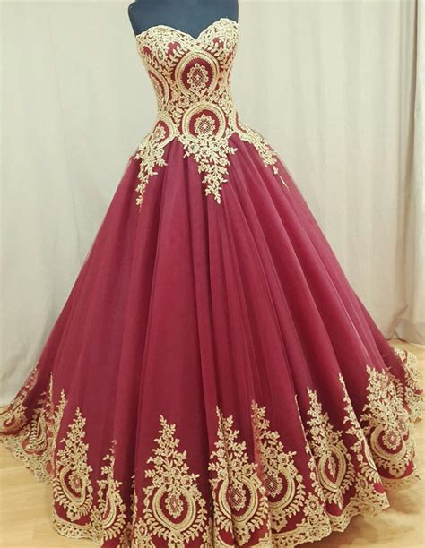 Wedding Prom Dress by Sweetheart Burgundy Evening Dresses Gold Lace