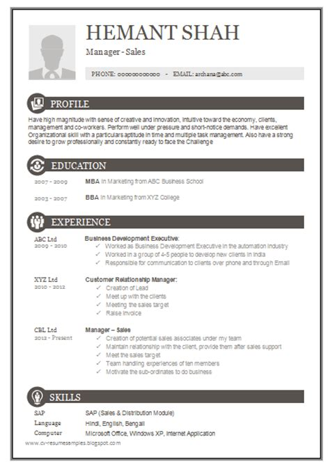 Resume Format Doc 1 Page 10000 Cv And Resume Sles With Free One Page Excellent Resume Sle For Mba
