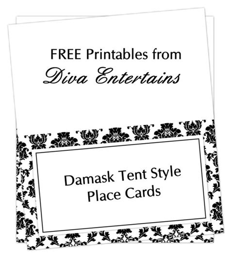 free printable table tent card template fab friday free damask place cards