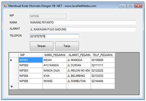 cara membuat query di vb net vb net cara membuat kode otomatis di vb net jnm