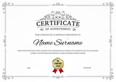 templates gray border graduation name certificate of achievement template background stock