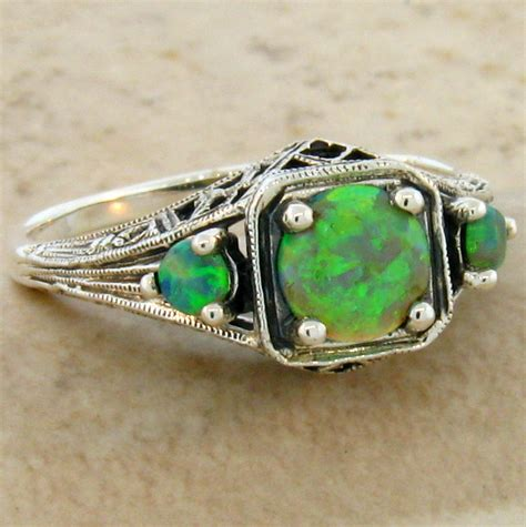 green lab opal antique deco style 925 sterling silver