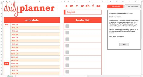 printable daily planner for excel dynamic daily planner excel template savvy spreadsheets