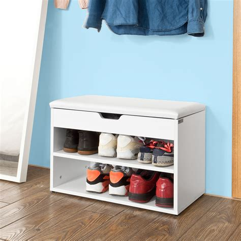 Shoe Storage Bench With Seat Sobuy 174 White 2 Tiers Shoe Storage Bench Shoe Cabinet With Padded Seat Fsr25 W Uk Ebay