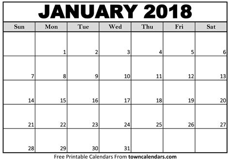 calendar printable towncalendarscom