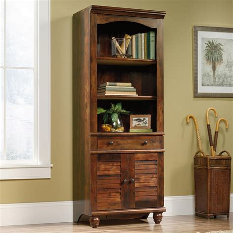 sauder 2 shelf bookcase sauder harbor view 420476 antique finished 2 shelf 2 door