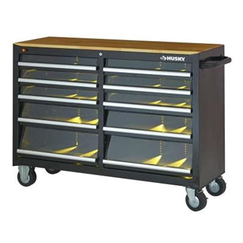 home depot work bench with lights and sounds tool set husky 52 in 10 drawer clear view mobile workbench with
