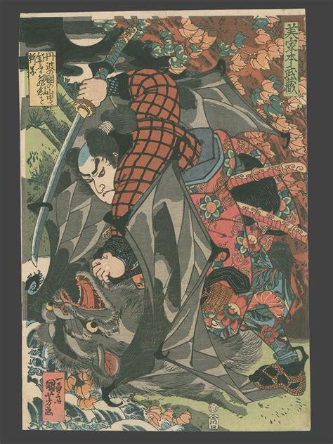 utagawa kuniyoshi miyamoto musashi killing a monster bat