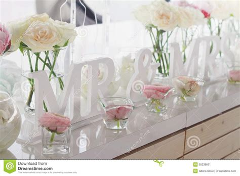 mr and mrs table decoration mr and mrs wedding table decorations stock photo image