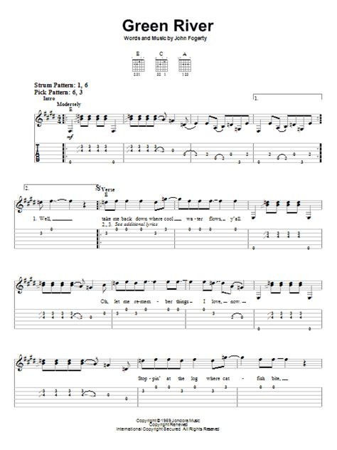 pattern is movement river lyrics green river sheet music by creedence clearwater revival