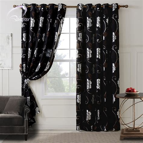 Black And Curtains Floral Patterns Black Bedroom Blackout Curtains