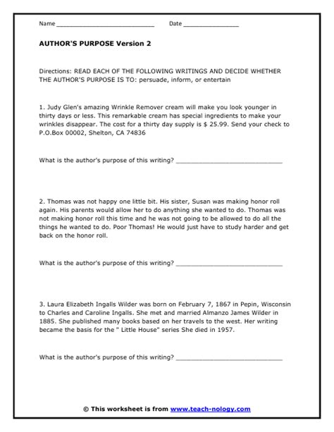Author S Purpose Worksheet by Identifying Author S Purpose C Gallagher 3rd Reading