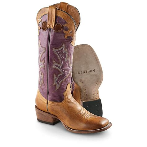 purple boots mens s stetson 174 15 quot crown burnished western boots purple