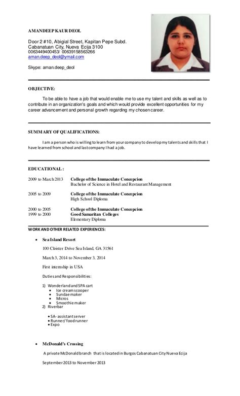 stylish cv format for hotel management very attractive manager