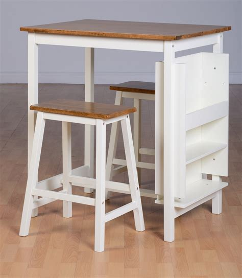 White Breakfast Bar Table Breakfast Bar Table Chair Set Dining Table 2 Stools White Wood Tops Ebay