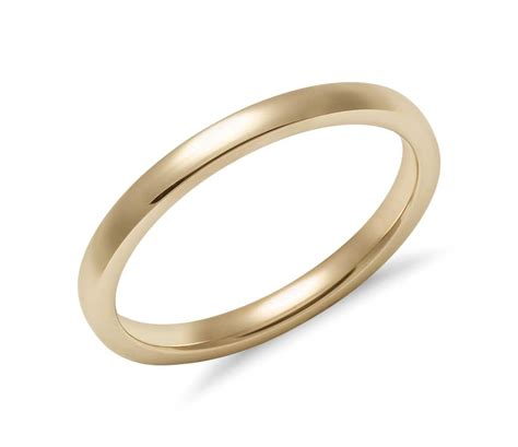comfort fit ring low dome comfort fit wedding ring in 14k yellow gold 2mm