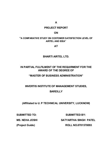 Airtel Project Report Mba by Airtel And Idea