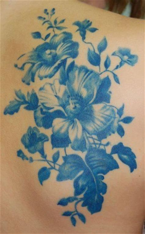 blue ink tattoo beautiful blue monotone reminds us of a china