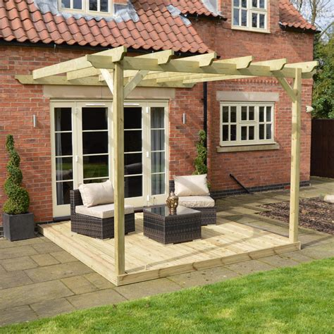 wall mounted wooden pergola and decking kit 3 sizes