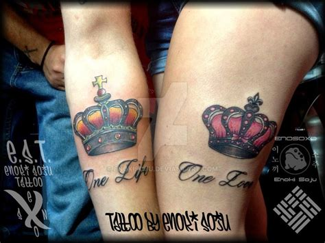 sexy tattoo couples his and hers crown tattoos by enoki soju tattoos and