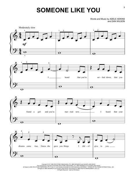 printable lyrics someone like you adele someone like you sheet music direct