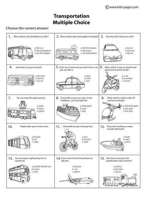 multiple choice worksheets on theme body parts transportation multiple choice b w worksheet