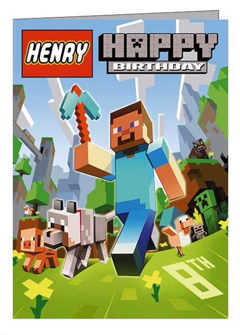 How To Make A Minecraft Birthday Card Lego Minecraft Personalised Birthday Card A5 Folksy