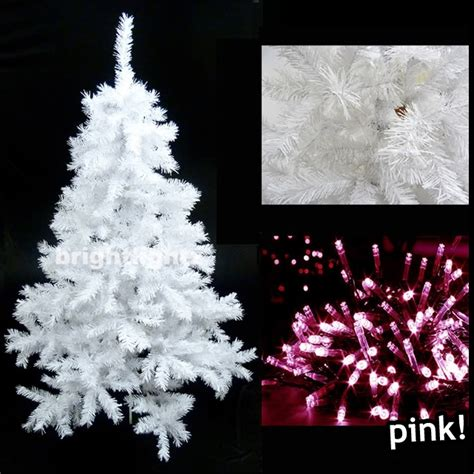 White Artificial Christmas Tree 6ft 180cm With 680 Tips White Tree Pink Lights