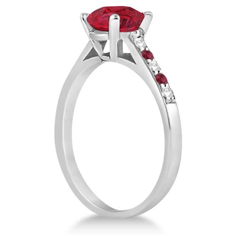 Ruby 7 20ct cathedral ruby engagement ring 18k white gold 1