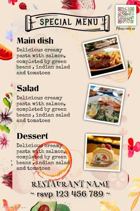 sle menu templates restaurant menu design great for catering services