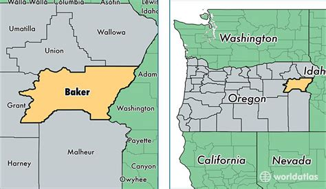 map of oregon baker city baker county oregon map of baker county or where is