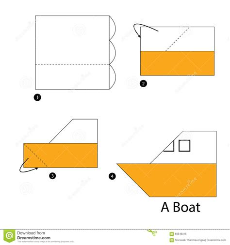 Paper Boat Steps - step by step how to make origami boat stock