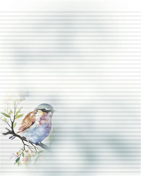 bird writing paper printable journal page bird writing lined stationery 8 x