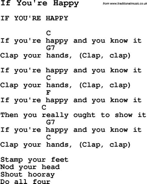 pattern hands lyrics summer c song if you re happy with lyrics and chords