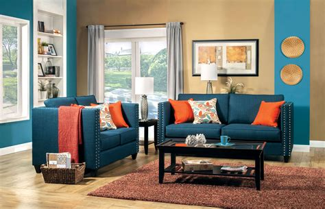blue couch set 2 pcs turquoise blue sofa set