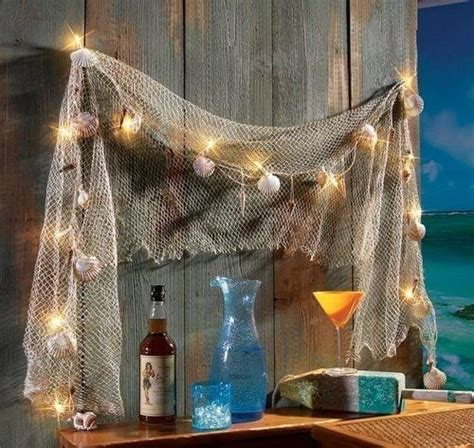 fishing decor for homes fish net sea shells light strand outdoor decor indoor