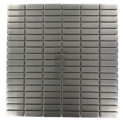 stainless steel tile splashback tile stainless steel stacked pattern 12 in x 12 in x 8 mm metal mosaic floor and