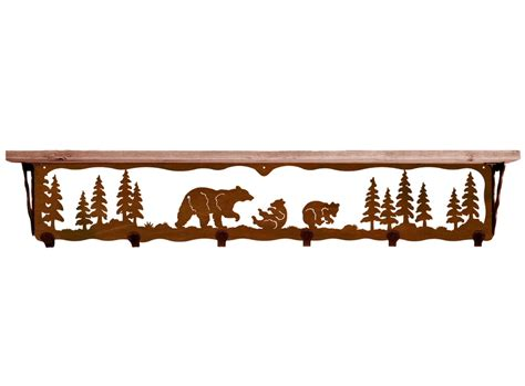 42 quot family metal wall shelf and hooks with alder wood
