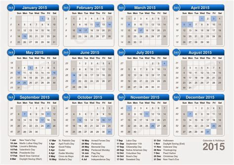 2015 yearly calendar with holidays new calendar template