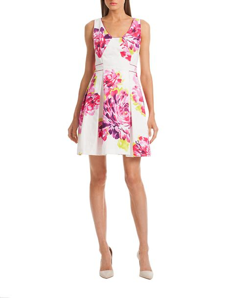 Floral Pleated A Line Dress floral print pleated a line dress in white lyst