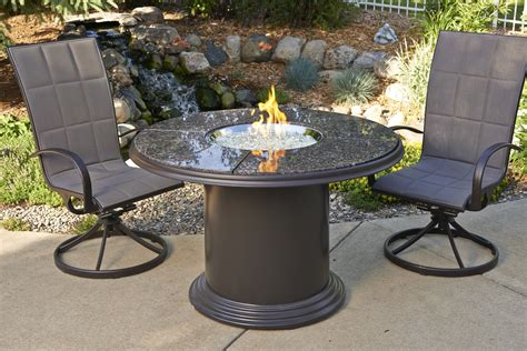 Classic Round Granite Top Outdoor Dining Table For Two