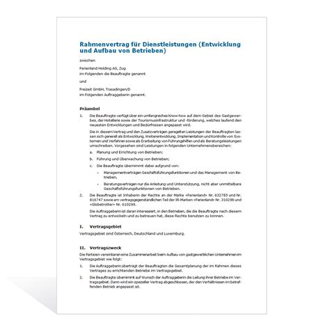Muster Dienstleistungsvertrag Schweiz Muster Dienstleistungsvertrag